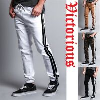 Victorious Men's Elastic Waist Track Style Striped Twill Jogger pant JG3008-F11C