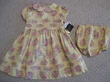 Laura Ashley yellow & pink floral 2 pc dress set Size 24 Months Girls NWT