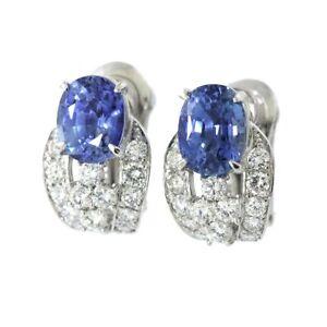 Sapphire 2.36ct/2.79ct Diamond 0.53ct/0.53ct Earrings Clip on Pt 18K WG 90115713