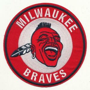 "6""  Milwaukee Braves Embroidered Iron On Patch  (1953-1965)  1957 World Champs"
