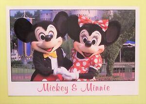 Disneyland Postcard; larger size Mickey & Minnie; vintage Disney