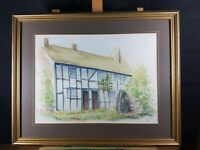 COUNTRY HOUSE COTTAGE SCENE WATERCOLOR SIGNED TINA