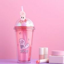 EstherLovesYou Gliter Ice Tumbler With Straw Plastic Travel Cup Color Pink