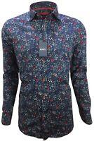 Herren Hemd mit Muster Blumen Freizeithemd Slim Langarm 97% Baumwolle M-3XL