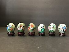 Lot of 6 Vintage Painted Green Agate Jade Stone Eggs Chinese Birds with Stand