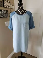 Cloth & Stone Denim Chambray Tencel Popover Dress, Dolphin Hem Two Tone Sz M EUC