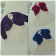 KNITTING PATTERN Childrens Round Neck Bolero Cardigans Tinsel Chunky KC 4441