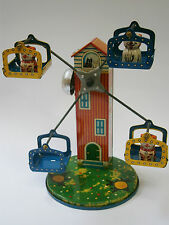 VINTAGE JAPAN -YONE- CATS FERRIS WHEEL BELL WIND-UP TIN LITHO TOY MILL