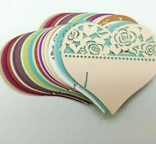 Rural Styles Love Heart Shape Laser Cut Table Name Place Invitation Card Set New