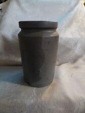 Antique 1860-70s 1 Quart Stoneware Crock Dark Grey Glaze Straight Sides UNUSUAL