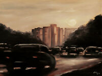ORIGINAL Signed Handmade Oil painting on canvas. 23x17''. cars city street