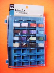 Dritz Bobbin Box - Holds 32 Bobbins - Clear Lid Allows You to See All Colors