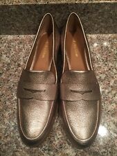 CALVIN KLEIN CELIA SOFT PLATINUM GOLD LEATHER PENNY LOAFERS SZ 7M NEW RUNS BIG