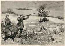 "FLATCOATED RETRIEVER Flat Coat DOG ANTIQUE ART PRINT ENGRAVING ""Snipe Shooting"""