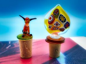 SET OF TWO MURANO GLASS BOTTLE STOPPERS: YELLOW MOSAIC & ORANGE DOG