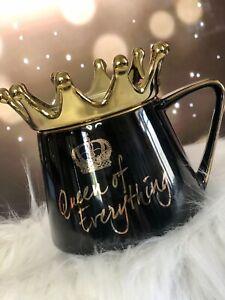 Crown Mug - Queen Of Everything Mug Set - Black & Gold - NIB