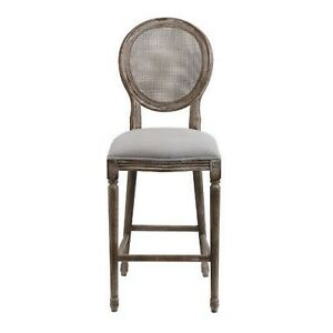 Cane Back Bar Stools Sold as Pairs Gray Oatmeal Linen Seat and Aged Wood