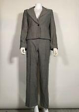 Armani Collezioni Suit Pant Wool Black Gray Check Women Sz 40 4 6 Italy