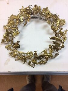 Vintage Large Dresden Holiday Wreath People Animals Etc