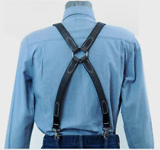 Dark Gray Leather Suspenders Silver Ring X Back with scissor snaps
