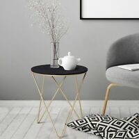 Round Tea Table Sofa End Side Wood Metal Table Living Room Furniture- Black Gold