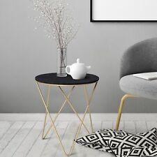 Round Tea Table Sofa End Side Wood Metal Table Living Room Furniture- Black Gold