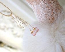 Echter Edelsteine-Ohrschmuck aus Gelbgold mit Rosenquarz für Damen