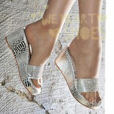 Ladies Low heel Wedges Diamante Mules Sparkly Flip flop Platform Sandals size