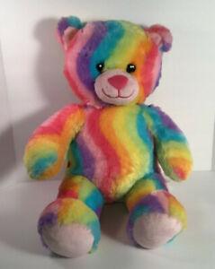 "Build A Bear BAB Rainbow Plush Toy Stuffed Animal 16"" Tie Dye Teddy TeddyBear"