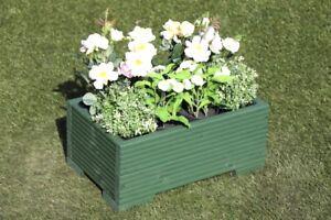 Green Wooden Decking Trough Planter Veg Bed Flower Plant Pots 50x32x23 (cm)
