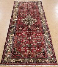 3 x 9 Persian Zagheh Tribal Hand Knotted Wool Reds Blues Oriental Rug Runner