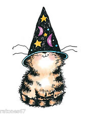 New Penny Black KITTY WITCH Wood Rubber Stamp Halloween Cat Hat Moon Wizard