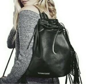 Victorias Secret Drawstring Backpack Purse Bag Black Faux Leather Fringe LN