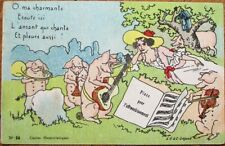 Anthropomorphic Pigs Playing Music, Reclining Woman 1910 Color Litho Postcard