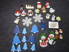 lot vintage Winter Holiday Refrigerator Fridge Magnets Snowmen Bells Snow Flakes