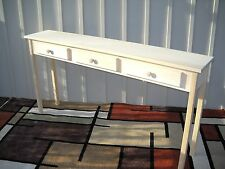 """Unfinished 60"""" Sofa, Console, Shaker Style, Block Leg Pine table w/3 drawers"""