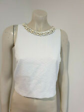 Forever New White Beaded Embellished Sleeveless Crop Top Size 14