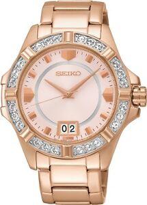 Seiko SUR802 SUR802P1 Ladies Dress Rose Gold Watch Crystals NEW RRP $675.00