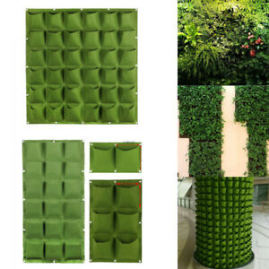 6/18/36 Pockets Vertical Wall Hanging Planting Growing Pots Bags Garden Planter