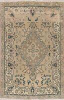 Vintage Muted Traditional Distressed Area Rug Wool Handmade Oriental Carpet 3x5