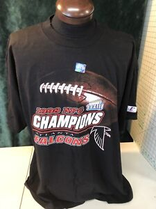 Mens LOGO ATHLETIC Atlanta Falcons Super Bowl 33 Black Cotton 2XL NWOT Shirt