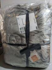 "West Elm Faux Fur Throw 47x60L Blanket Black Gray Jete / Manta New Mono ""M"""