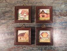 4-tlg. Miniatur Bilder Set Naive Malerei Häuser 6x6cm Mini Wandbilder