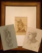 A SET OF THREE ANTIQUE DRAWINGS  Original Not a print Black chalk Laid paper