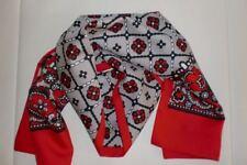 70er Jahre Original Schal rot schwarz - doppellagig