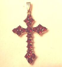Beautiful Classic Vintage Style Euro 10k Solid Cross Accents 20 Genuine Garnets