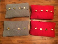 """Lot Of 4 IKEA Throw Pillows 16""""x24"""" Covers And Inserts Red Gray Sweater Material"""
