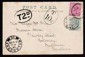 1902 NATAL UNDERPAID PPC TO FOOTSCRAY, MELBOURNE. TWO POSTAGE DUE MARKINGS