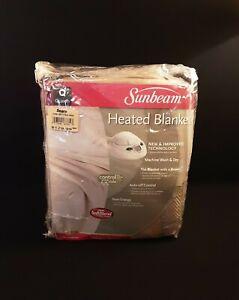 "Sunbeam Heated Twill Finish Blanket Duel Control Queen (84"" x 89""), Tan/Beige"
