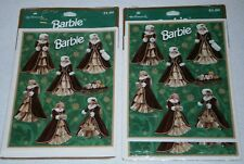 BRAND NEW & SEALED ~ 2 PACKAGES of BARBIE CHRISTMAS Stickers / HALLMARK, 1996